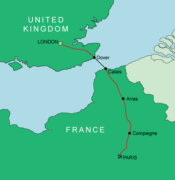 London to Paris Cycling Route